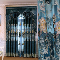 European Luxury Chenille Custom High Quality Embroidery Bedroom Curtains Bedroom Curtains Classic Villa Curtain Living Room