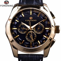 Forsining 2017 レトロなファッションデザイナー 3 ダイヤル装飾革黄金の男性高級ブランド自動機械式時計