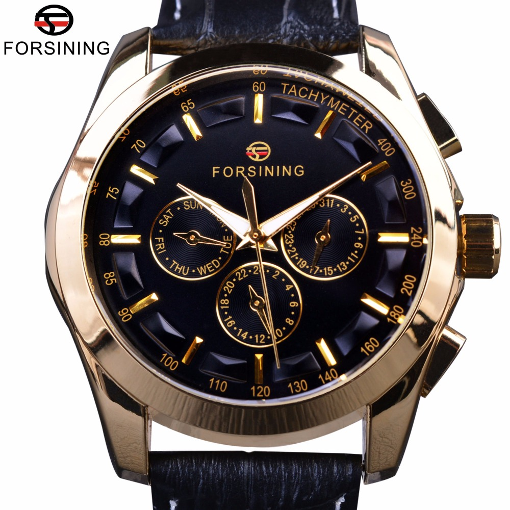 Forsining 2017 Retro Fashion Designer Three Dial Decoration Genuine Leather Golden Men Luxury Brand Automatyczne zegarki mechaniczne