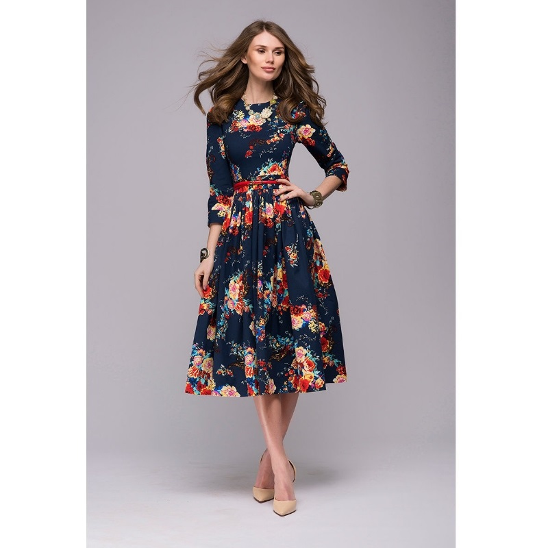 Women casual knee-length dress 2018 new arrival long sleeve printing summer dress for offical lady Women loose vestidos