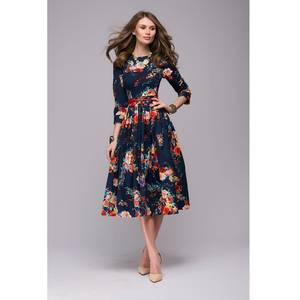 BKMGC casual long sleeve printing summer dress for Women