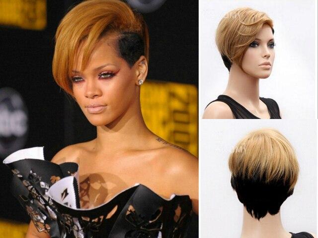 FESHFEN Rihanna Gaya Rambut Dengan Poni Lurus Capless Wig Rambut - Gaya rambut pendek rihanna