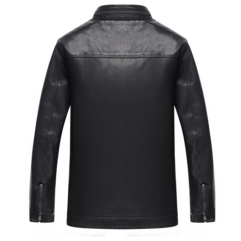 Mens Leather Jacket Brand High Quality Outerwear 3