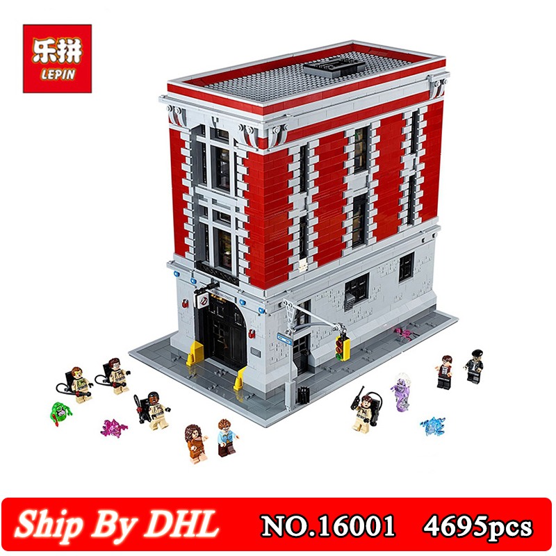 LEPIN 16001 4705Pcs Ghostbusters Firehouse Headquarters Brinquedos Model Set Building Bricks Block Kits Model Compatible 75827 lepin 16001 4705pcs city street series ghostbusters firehouse headquarters building block bricks kids toys for gift 75827