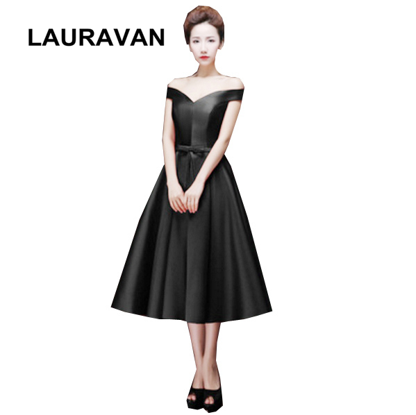 ladies peplum vintage fashion spring boat neck black tea length gowns   bridesmaid     dress   party   dresses   for teens free shipping