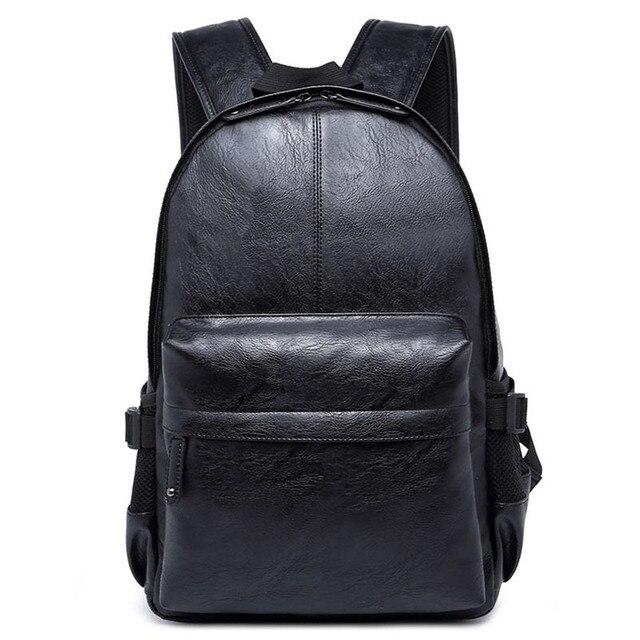 New Vintage Men Laptop Bag Black PU Leather Backpacks Preppy Style School  BookBags for Men Travel Brown Mochila Male Daypacks b4a2a1330e883