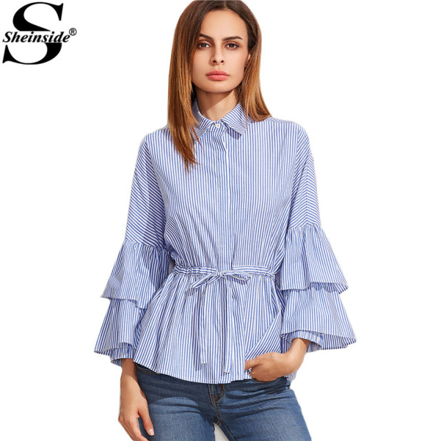 bf788d73da Sheinside Latest Top Designs Fashion Blouses Women Blue And White Striped  Layered Long Sleeve Drawstring Waist