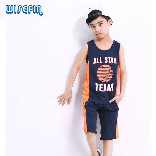 Wisefin Schule Jungen Sport Anzüge Druck Basketball Kleidung Für