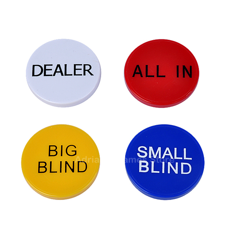 4 IN 1 Dealer&All In&Big Blind&Small Blind Poker Chips Set Accessory 5*0.6cm