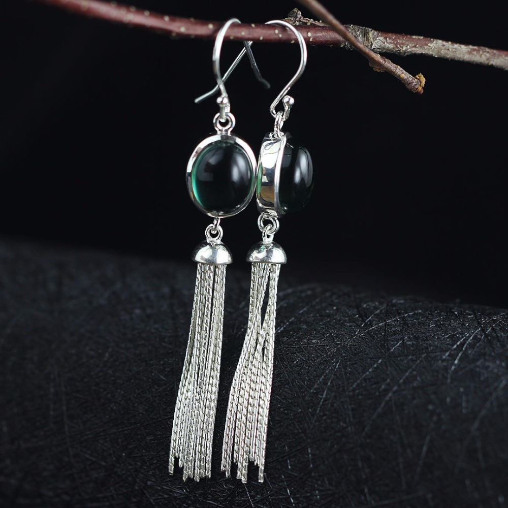 100 925 Sterling Silver Green Cubic Zirconia Drop Earrings For women jewelry National style Vintage Earrings birthday gift in Earrings from Jewelry Accessories