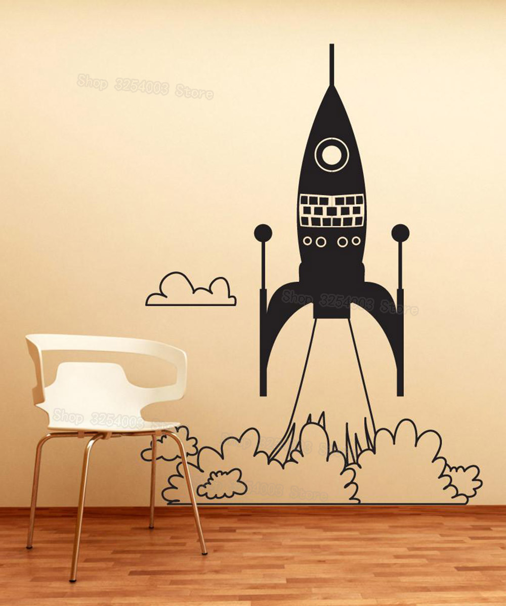 Rocket Ship Take Off Wall Art Stickers Children Room Creative Home ...