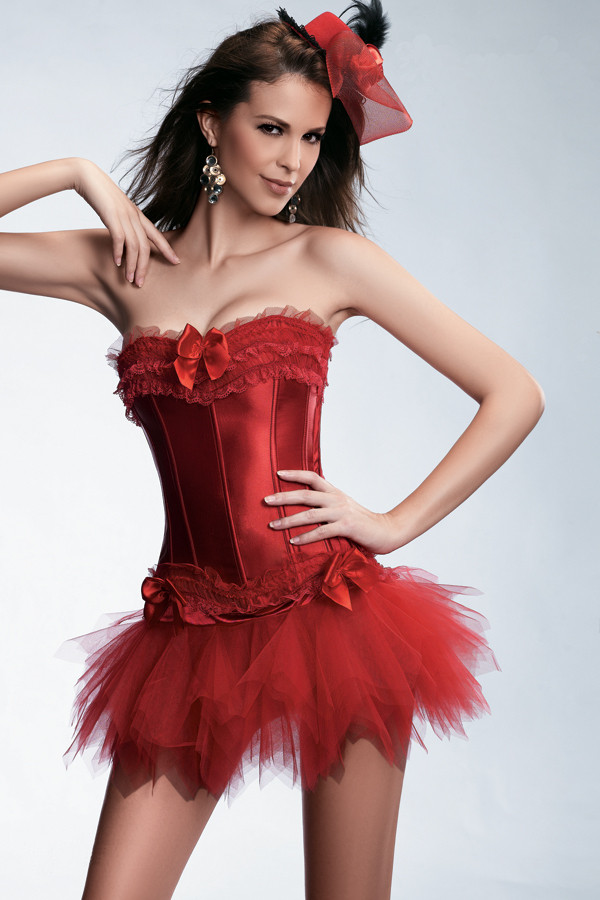2014-New-Sexy-Satin-Lingerie-Lace-Corset-Top-G-string-Skirt-Bustier-Mini-Tutu-Wedding-Dress (2)