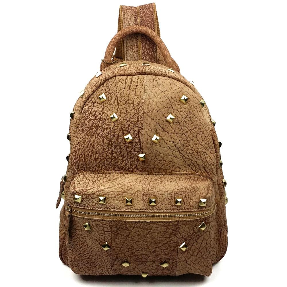 ФОТО JOYIR New cowhide genuine leather women backpack rivet preppy style school bag shopping travel bag for girl ladies woman bag1041