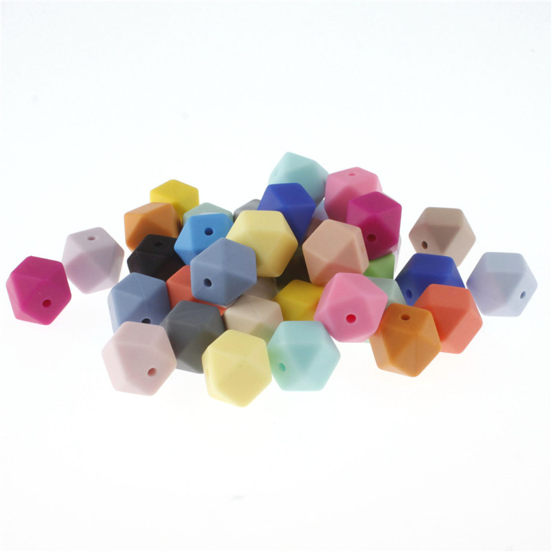 Wholesale Silicone Beads Hexagon 17MM Loose Bead 10pc Diy Teeting Necklace Safe Teething Beads For Baby Teether Bpa Free