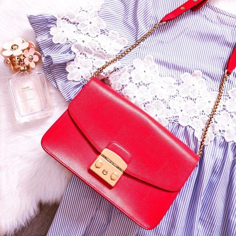 25 centimetri delle signore del cuoio Genuino borse di marca famosa del messaggero di modo per le donne le donne di notte borsa della catena della borsa borse di lusso-in Borse con manici da Valigie e borse su  Gruppo 1