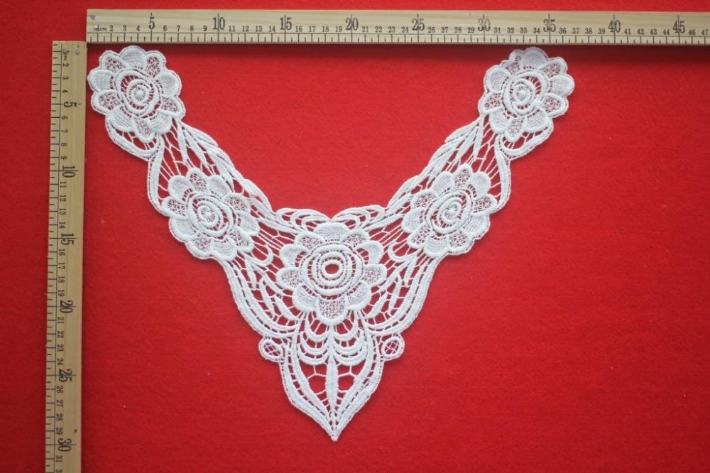 20pcs Lace Collar Applique Crochet Cotton Lace Neckline Applique