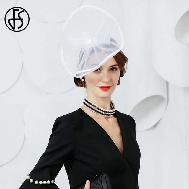 FS 2018 New White Bow Hat For Women British Ladies Small Tea Party Church  Hats And da8573ffbe3