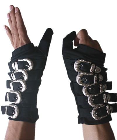 Rare MJ Michael Jackson Bad Bandage Black Metal Black Buckle Alloy Fashion Punk Club Gloves For Fans
