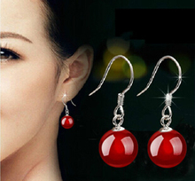 2015 New arrival hot sell fashion black/red rhinestone 925 sterling silver ladies`drop earrings jewelry gift drop shipping