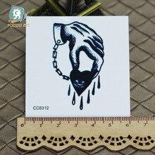6X6cm Little Vintage Old School Style My Heart Bleeding Temporary Tattoo Sticker Body Art Water Transfer Fake Taty
