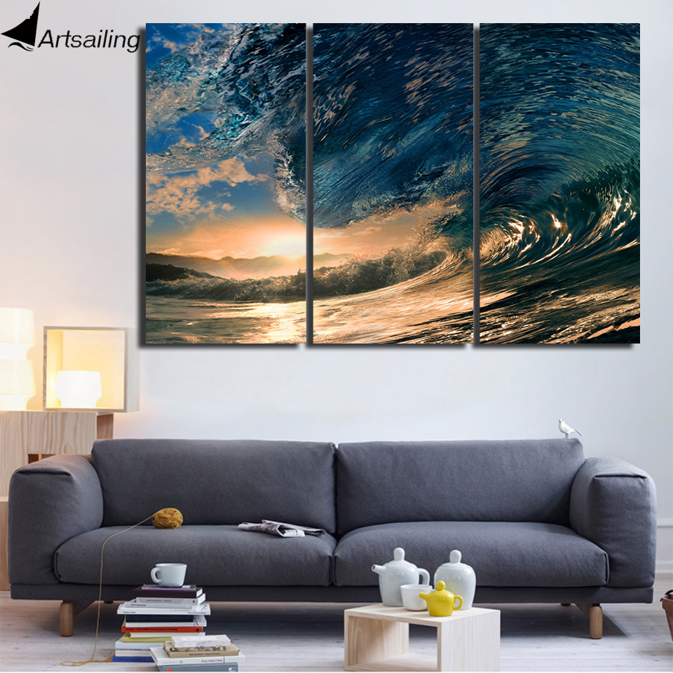 HD Printed 3 Piece Canvas Art Ocean Wave Painting Canvas