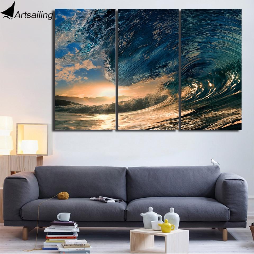 hd printed 3 piece canvas art ocean wave painting canvas. Black Bedroom Furniture Sets. Home Design Ideas