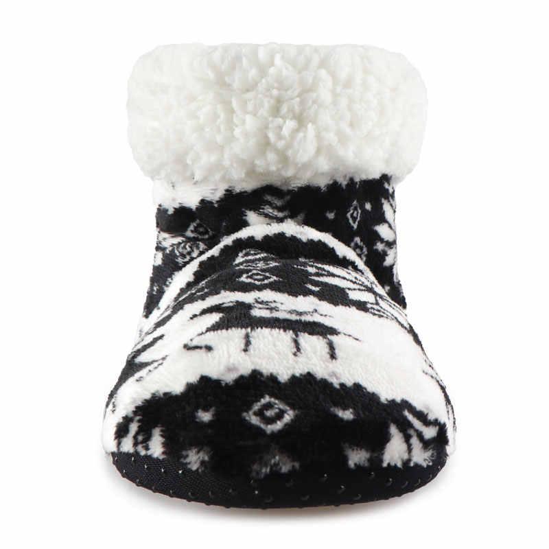 Mulheres inverno Chinelos De Pelúcia de Algodão Quente Chinelos Em Casa Natal Alces Meias Interiores Sapatas Das Senhoras Mulher Andar Calçado