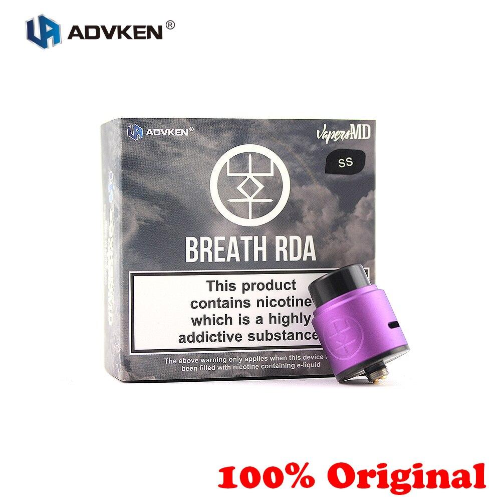 100% Original E-cigarrillo Advken aliento RDA tanque 24mm 510 Rebuildable goteando atomizador 810 Punta de goteo para abajo alimentar caja Mod