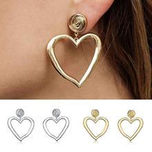 Korean Fashion Gold Sliver Hollow Love Heart Dangle Earrings For Women Girl Simple Statement Long Drop Earrings Jewelry Gift цена