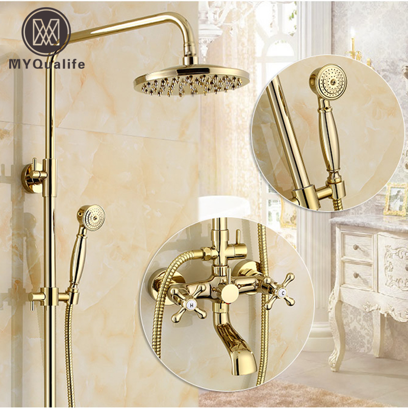 Free Shipping Wholesale and Retail Modern Gold Plating Wall Mount Bathtub Shower Faucet Rain Shower Bath Mixer Taps wholesale and retail 20pc 9pin gold plated ceramic tube socket audio accessories rs1003 f3a amplifier free shipping