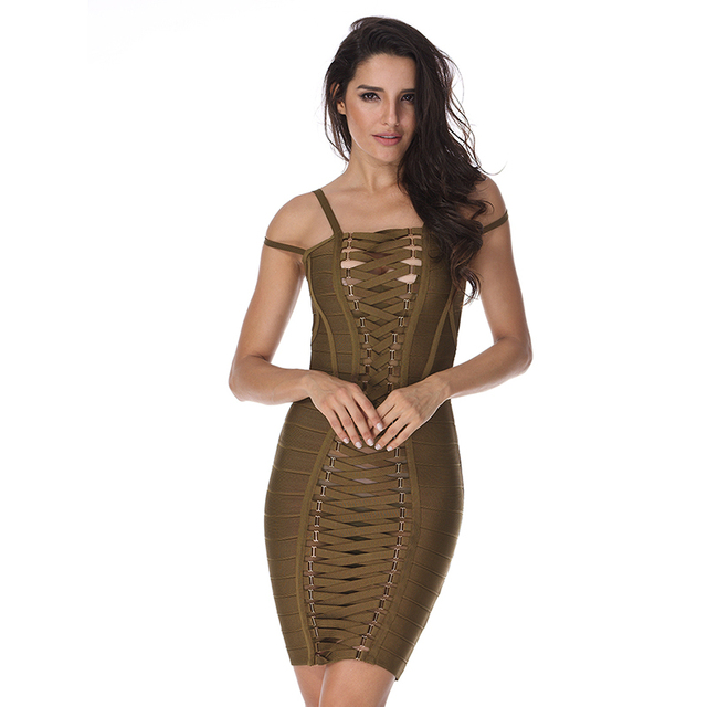 In Stock 2017 Spring Women Party Bodycon Bandage Dress Black Straps Backless Red Hollow Out Mesh Celebrity Club Casual Vestidos