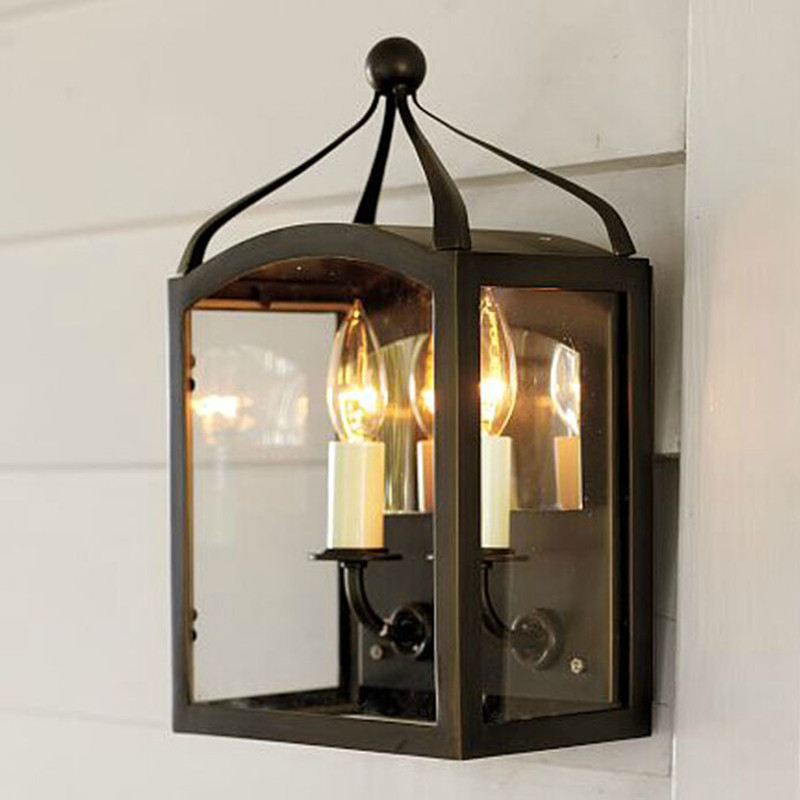 American Creative Industrial Style Wrought Iron Glass Box Restaurant Wall Lamp Balcony Light Corridor Candle Light Free Shipping ledream milan wind meal with corridor creative arts roft corridor restaurant style restaurant adornment wall lamp