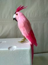 new simulation parrot toy plastic&fur pink parrot model gift about 30cm big wings parrot toy plastic