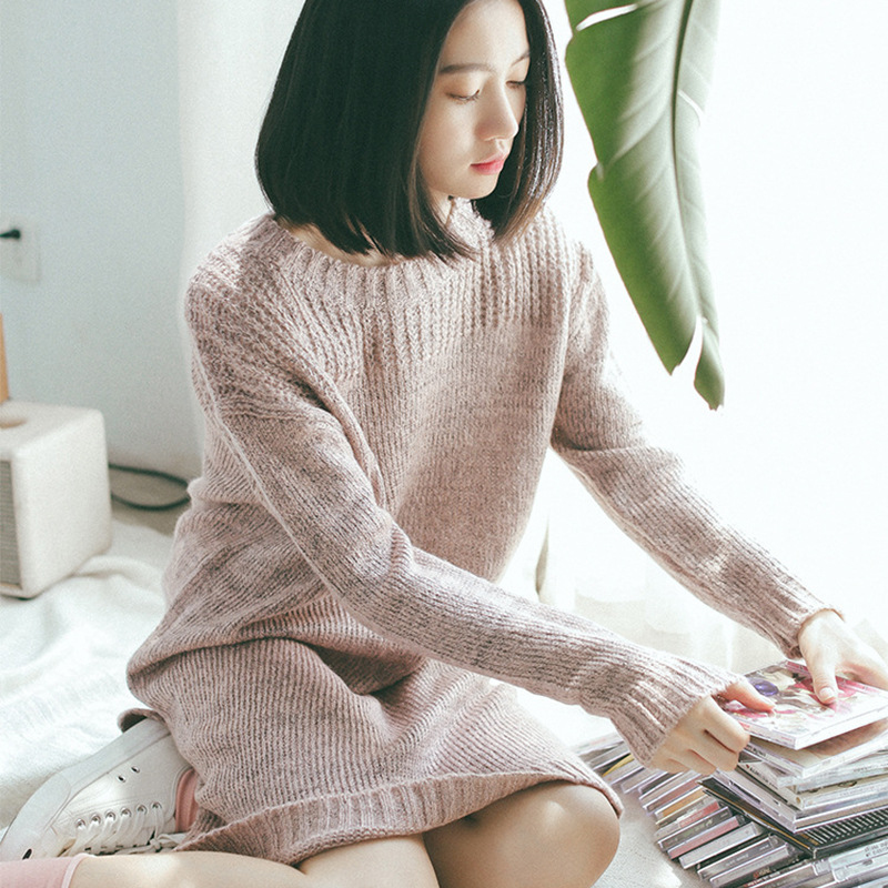 2016 Autumn and Winter New Art Long Loose Dress Long Sleeve Solid Color Knit Sweater Dress AXD1914