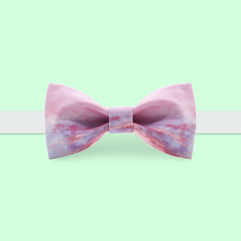 Free Shipping 2019 New Fashion Casual Men's Male Original Brand Handmade Printed Bow Tie Banquet Party Groom Dress Pink Clouds
