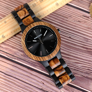 Image 4 - BOBO BIRD Wholesale Classical Mens Wood Timepieces Watch Custom Logo Wrist Watches Men with Grid Bezel relogio masculino LD30 1