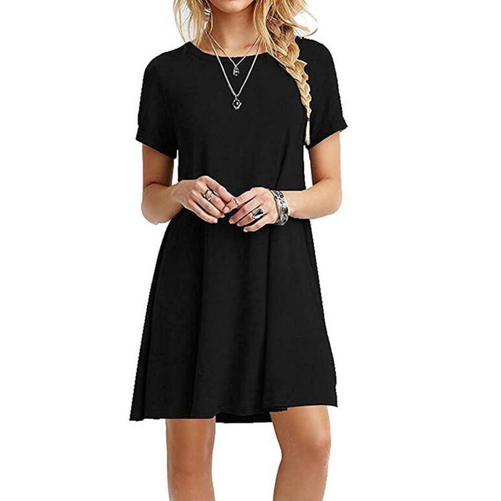 Mini vestido de verano para mujer Casual cuello redondo liso básico sólido  vestido corto manga corta 5b5a08916314