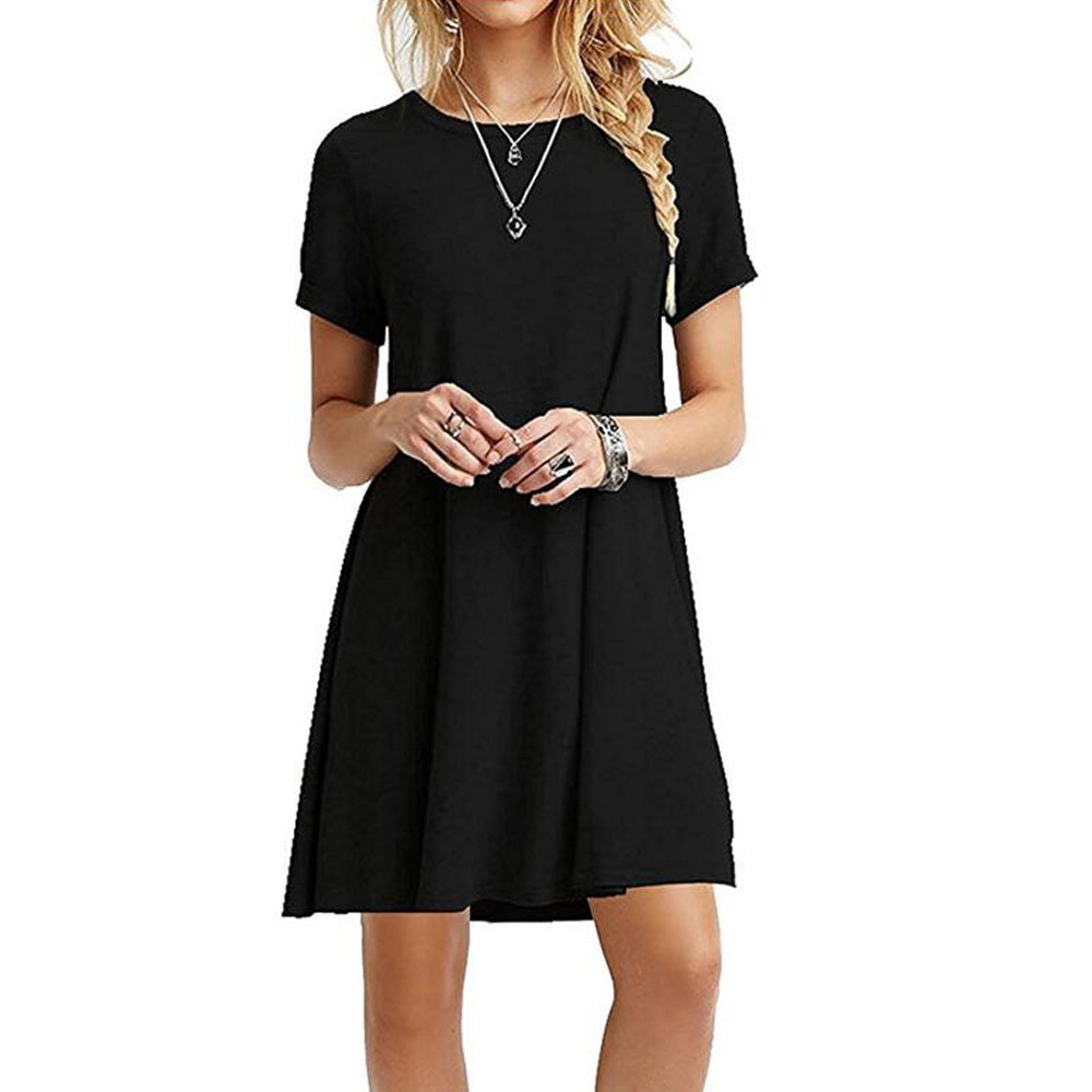 Summer mini dress Women Casual Round Neck Plain Basic solid dress Short Sleeve short Tent Dress vestido verano 2018 elbise