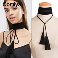Fashion brand european wide black white ribbon long tassels necklaces & pendants tassel colar feminino necklace kolye for women
