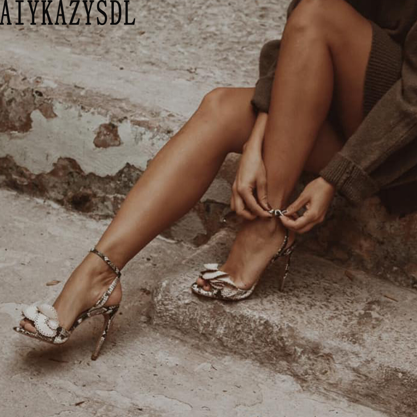 436c808216 AIYKAZYSDL Women Faux Snakeskin Print Leather Sandals Bow tie Butterfly  Knot Shoes Ankle Strap High Heels Peep Toe Shoes Pumps-in High Heels from  ...