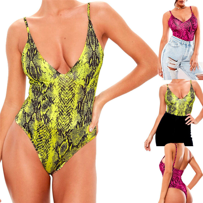 2020 Stylish New Women Sexy Sleeveless Strap Snake Skin Print Romper Bodysuit Tops V-neck Slim Leotard Stretch Jumpsuit Bodysuit