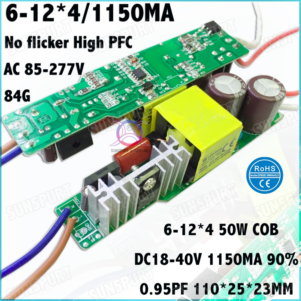 2Pcs PFC No Flicker 60W AC85-277V LED Driver 6-12Cx4B 1.2A DC18-40V Constant Current LED Power For LED Spotlights Free Shipping