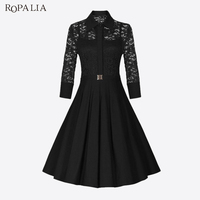 ROPALIA Brand Vintage Dress Woman Lace Party Summer Dress Elegant Style Ladies Evening Party Dresses Women