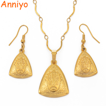 цена на Anniyo Silver/Gold Color PNG Mask Pendant Necklaces & Earrings for Women/Girls,Papua New Guinea Ethnic sets Jewellery #105606