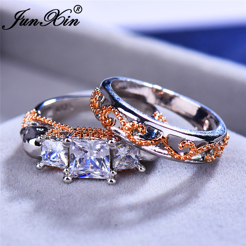 JUNXIN Punk Skull Ring Sets For Couples Gold Wave Leaf 925 Silver Square White Zircon Crystal Engagement Rings For Women Men