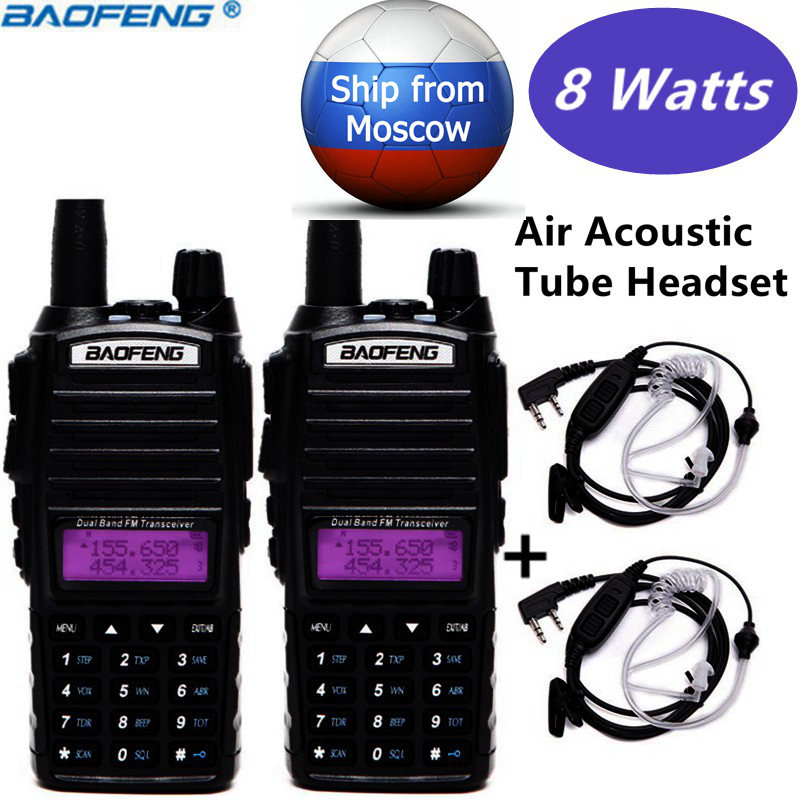 2pcs Baofeng UV-82 Plus 10km Long Range 8Watts 8w Powerful Walkie Talkie Portable two way Radio+2-PTT Air Acoustic Tube Headset