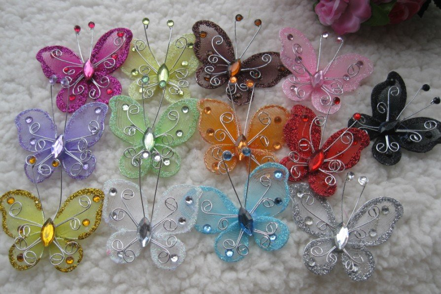 5 cm silk butterfly christmas decorative butterfly for Decorative flowers for crafts
