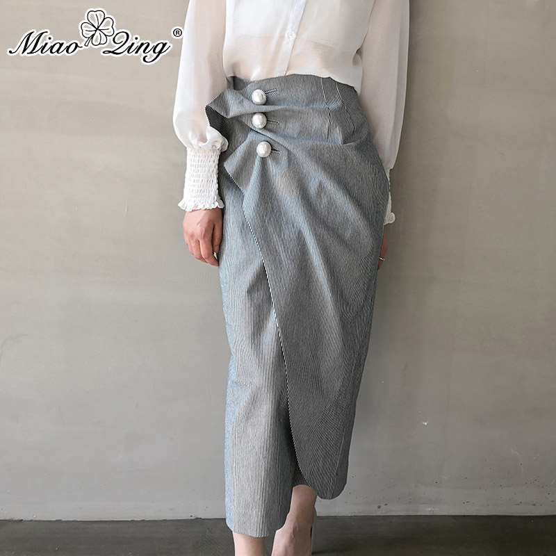 MIAOQING Autumn Korean Style Women Long Skirts Vintage Pearl Ruched Striped Wrap Skirt High Waist Split ruffle skirt ladies hot