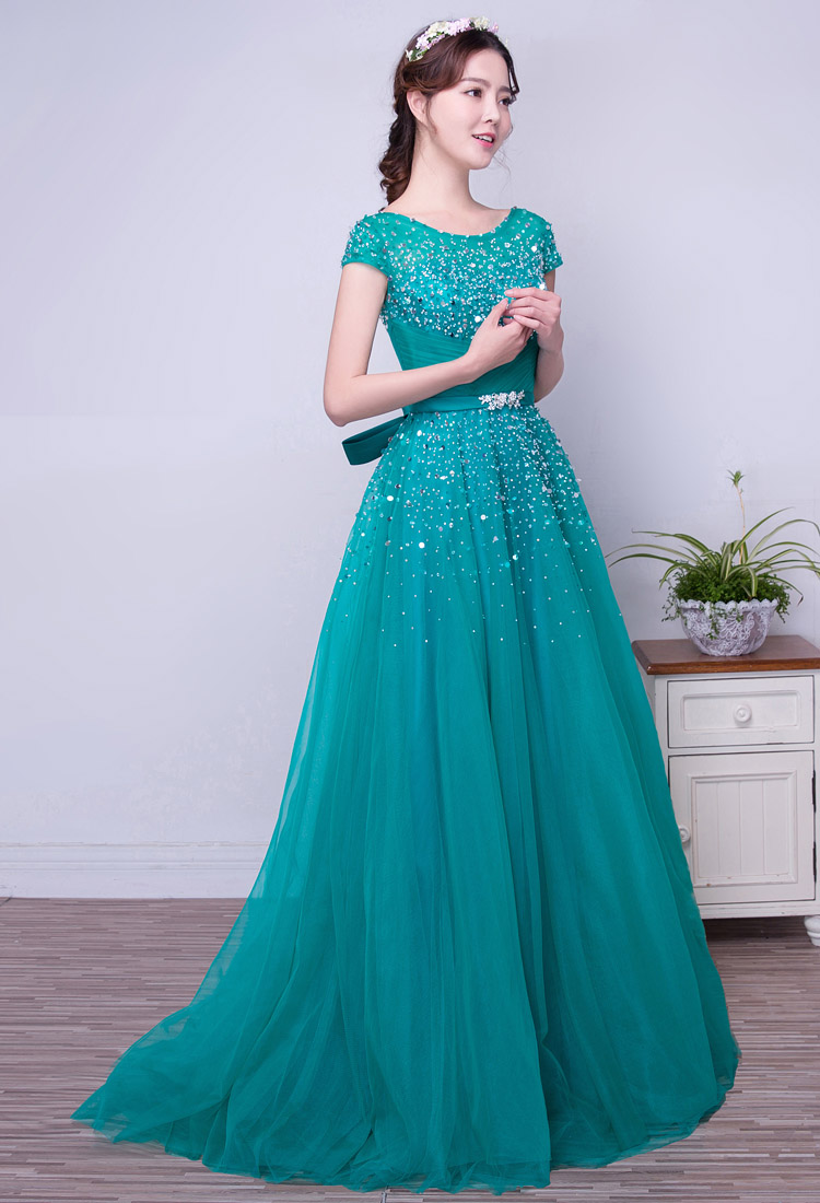 Turquoise Tulle A line Long Modest Prom Dresses With Short Sleeves ...