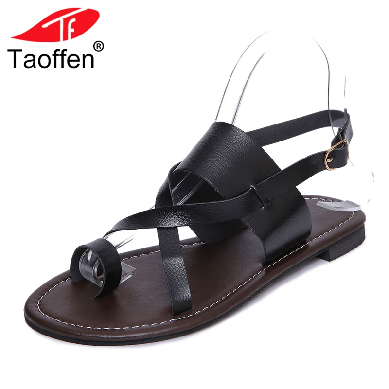 TAOFFEN Summer Women Flats Sandals Fashion Solid Color Back Strap Sandals Daily Office Lady Shoes Women Footwear Size 35-39